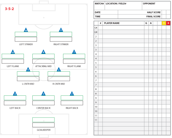 3 5 2 Formation Starters And Substitutes Template