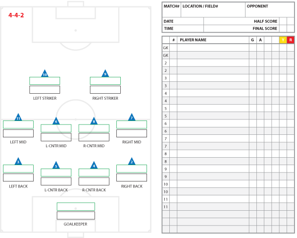 4-4-2 Formation Starters and Substitutes Template