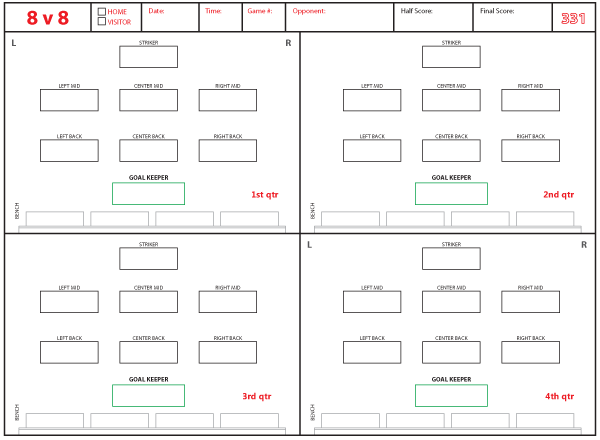 Soccer Formations and Systems as Lineup Sheet Templates - Brant Wojack